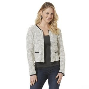 Metaphor Black White Tweed Cropped Blazer